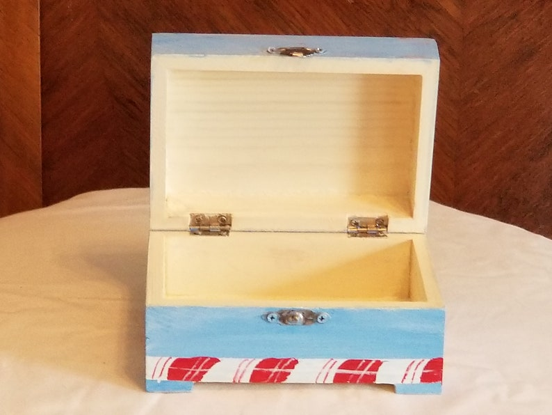 approximately 5 w x 3 12 d x 2 12 h. Gift Box Wooden with Hinged Lid and Metal Closure