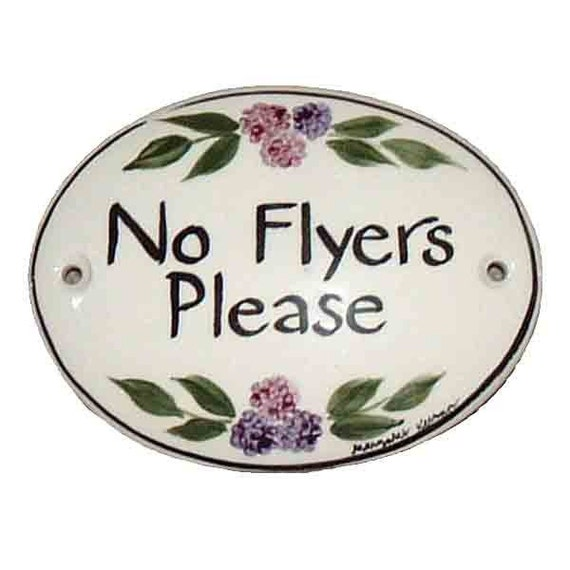 no flyers please sign 3 75 x 2 75 etsy
