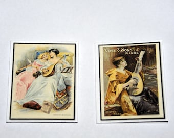 "Mini Cards - ""Vintage Women Playing  Instruments"""