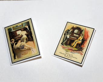 Mini Cards - Vintage Woman Playing Piano
