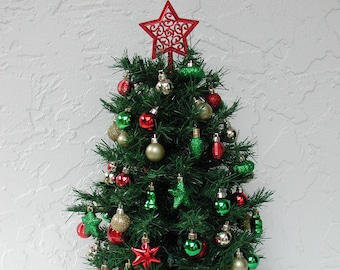 miniature christmas tree fully decorated tree 50 clear lights tree with lights tabletop tree christmas centerpiece decorated christmas - Fully Decorated Christmas Tree