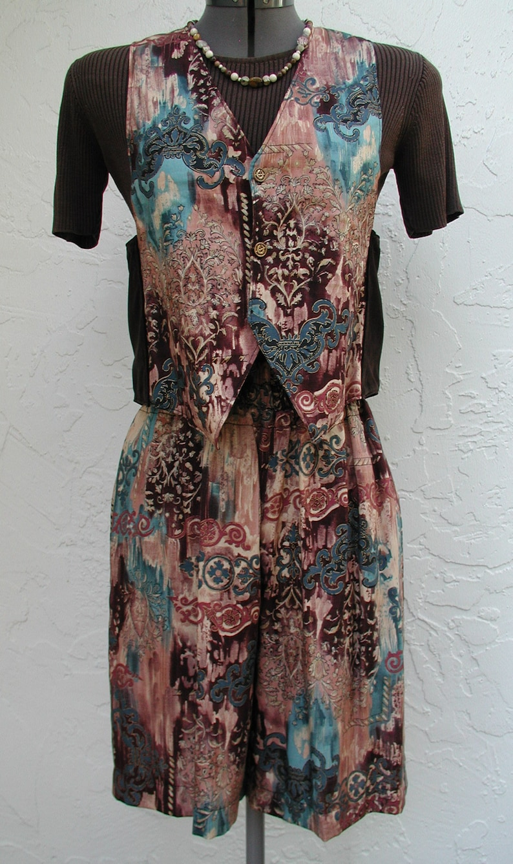 An Original 1994 Vintage Alexander Henry Print Vest and Shorts Vest and City Shorts Low Rider Vest Reversible Vest Women Petite Sizes
