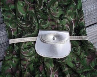 Gold Lame Belt, Women Accessory, Elastic Waist Belt, Gold Lame Money Belt, Snap Pouch Belt 27 Inch, Small Gold Belt, Fashion Purse Belt