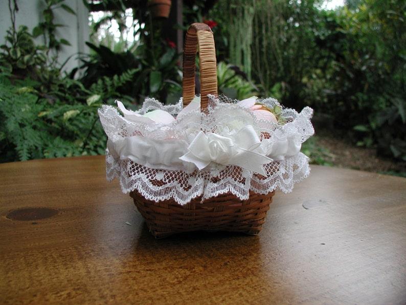 Wedding Ceremony Tiny Basket with Silk Rose Pedals Small Wicker Basket Wedding Flower Girl Flower Girl Basket Flower Girl Roses