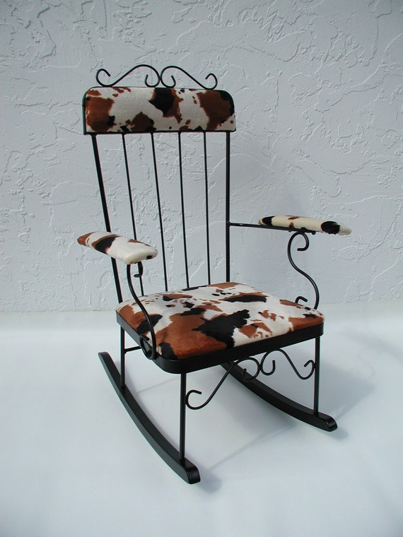 Rocking Chair Rustic Rocking Chair Brown Cow Print Black Etsy