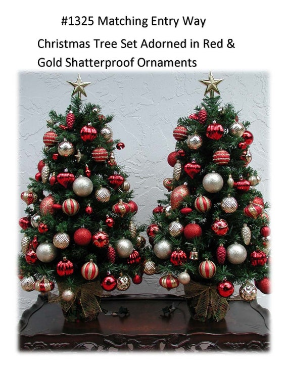 Red And Gold Christmas Tree.Entryway Christmas Tree Set Red And Gold Decor Shatterproof Ornaments Fully Decorated With 100 Clear Lights On Each Tree 3 Ft Plus Tree