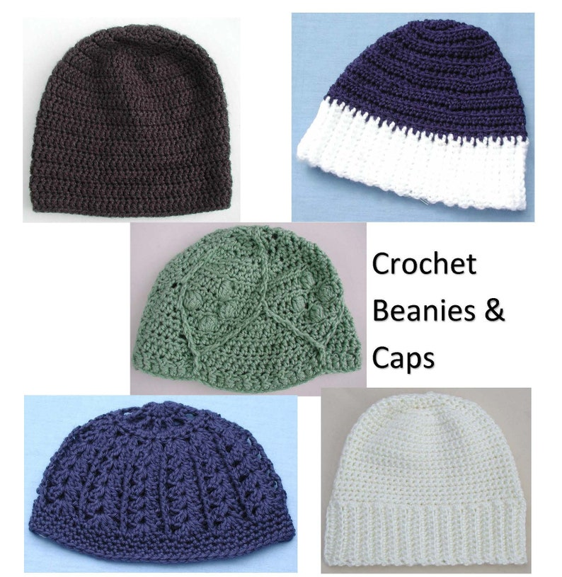 eb8e0ca261 Crochet Hats, Beanies Hoodie Caps, Crochet Fashion Hats, Winter Hats Caps,  5 Different Styles, Cold Weather Hat, Outdoor Winter Wear
