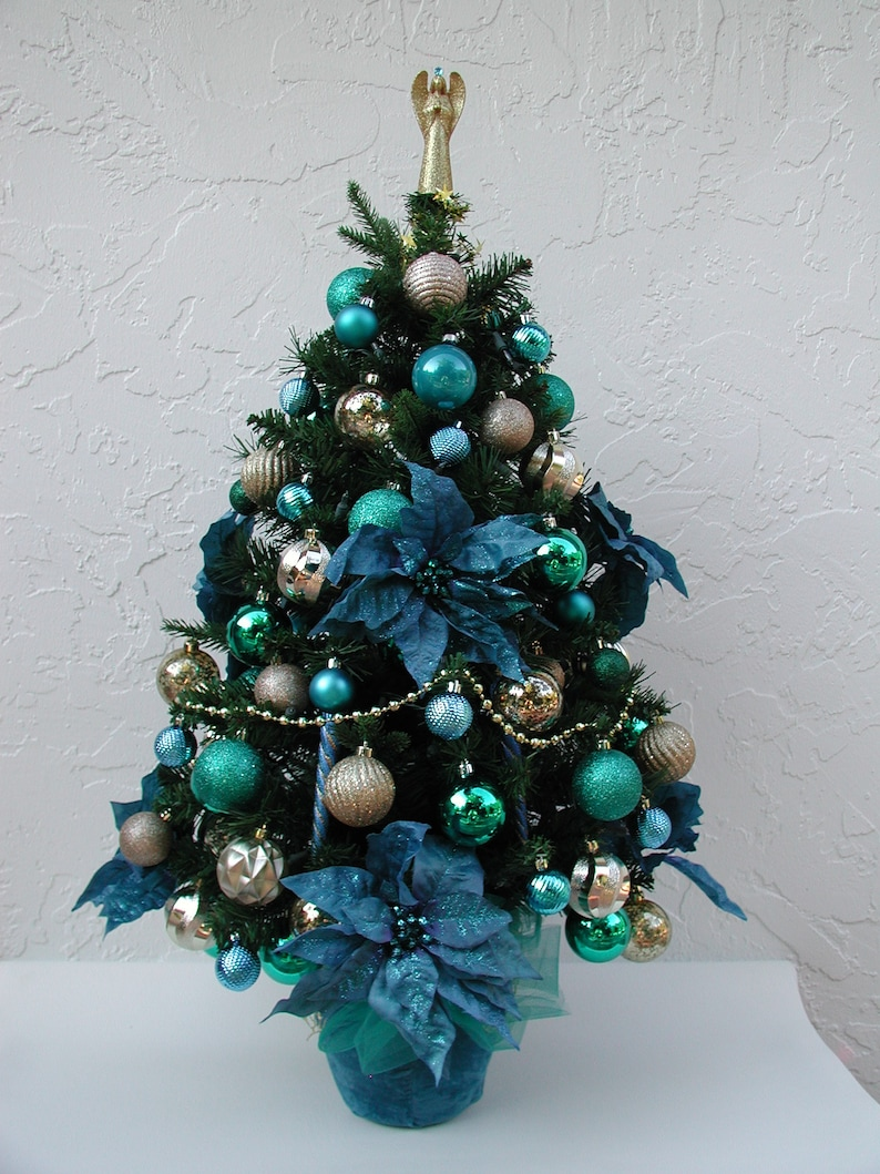 Turquoise Gold Christmas Entryway Tree Tabletop Tree Etsy