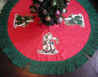 "Christmas Tree Skirt, Red and Green , OLE Father Christmas, RED Tree Skirt, Trimmed in 5"" inch Green Bullion Fringe, Christmas Tree Skirt"