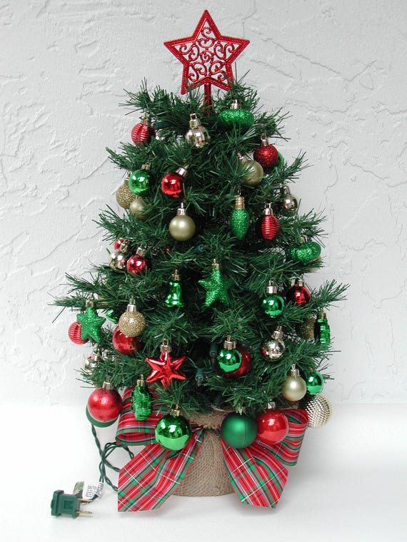 miniature christmas tree fully decorated tree 50 clear lights tree with lights tabletop tree christmas centerpiece decorated christmas