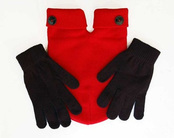 Red Smitten, the Lovers Mitten with Black Buttons and gloves (for holding hands).. Smitten Card Included, Free Shipping USA