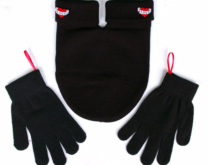 Smittens the Couples Glove, Romantic Gift for Couples,  Black Gloves and Card Included, FREE Shipping USA, Perfect Gift to show you care!