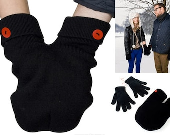 Best Christmas gift ever! Smittens;  Mittens for Couples, Love Gloves, One Size Fits All! Smitten Card Included.  FREE Shipping USA