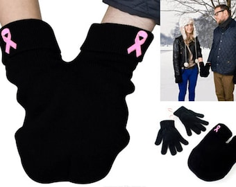 Breast Cancer Awareness Couples mitten, pink ribbon, Gloves and Smitten Card Included. Be smitten, share your mitten! FREE Shipping USA
