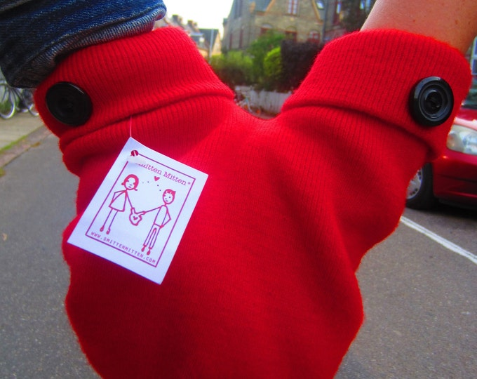 Red Couples Gloves with Black Buttons , A Unique and Romantic Gift for Valentines, Anniversary, or Wedding Present. Smitten Card Included
