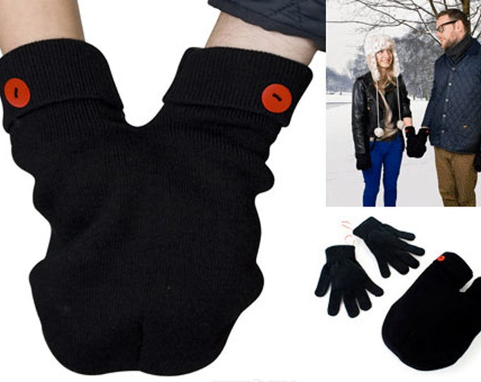 Smitten Mittens; the Perfect Accessory for a Romantic and Funny Couples!  Gloves for Couples, One Size Fits All! Smitten Card Included.