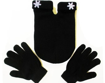 Snowflake Couples Glove; the Shareable Smitten Mitten.  Perfect Winter Wedding gift, Gloves and Smitten Card Included, One Size Fits All