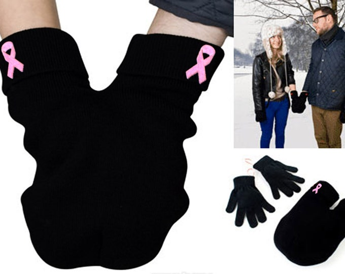 Breast Cancer Awareness Couples Mitten, pink ribbon for strong women, Gloves and Smitten Card Included. Share your mitten! FREE Shipping USA