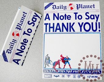 Superhero Newspaper PRINTABLE Thank You Cards