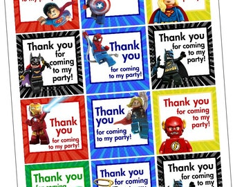 Brick Superhero Thank You Tags