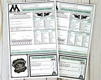 Wizard Inspired PRINTABLE Wand Permits