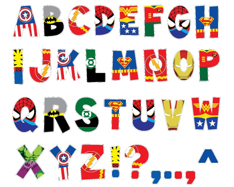 photograph about Printable Letters called Superhero Alphabet PRINTABLE Letters