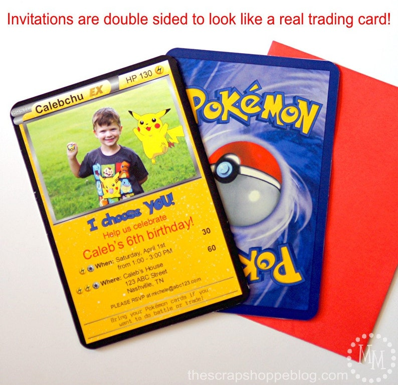 graphic regarding Printable Pokemon Trading Cards identify Pokémon EX Custom made PRINTABLE Birthday Invitation with Image
