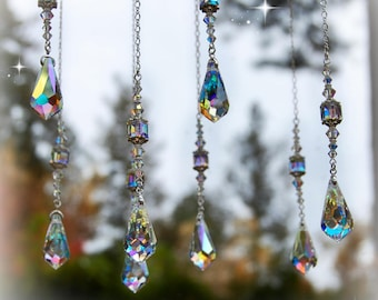 Rearview Mirror Hanging Prism Crystal Car Charm Window Etsy