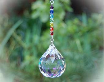 Rainbow Prism Suncatcher, Chakra Crystal, Rearview Mirror Car Charm, Hanging Window Decoration, Crystal Ball, Swarovski Crystal