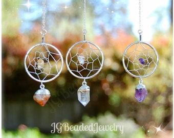 Healing Crystal Dream Catcher, Rearview Mirror Decoration, Home Decor, Amethyst, Citrine, Clear Quartz READ DESCRIPTION for SIZE