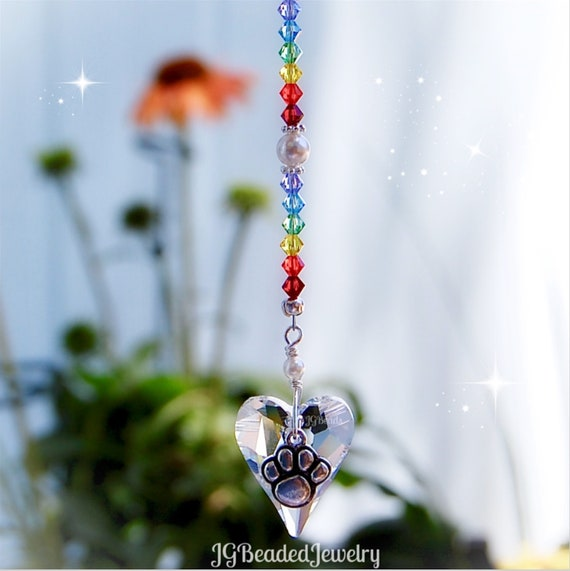 Dog Paw Hanging Ornament Dog Paw Gift Rainbow Bridge Pet Loss Gift Remembrance Sun Catcher Crystal Prism