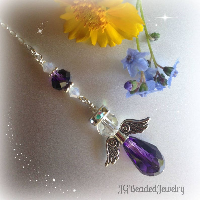 Remembrance Gift Purple Opal Guardian Angel Rearview Car Charm Road Protection In Loving Memory Window Decoration New Driver