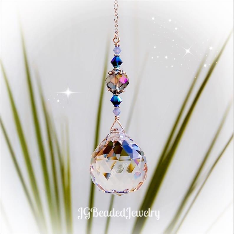 Rearview Mirror Opal Blue Iris Crystal Suncatcher Window Prism Comes in 3 Sizes! Fan Pull Ceiling Light Pull Car Charm