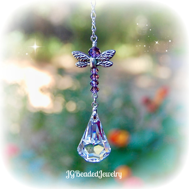 d5ce9ac333832 Purple Dragonfly Swarovski Crystal Suncatcher, Rearview Mirror Car Charm,  Window, Ornament