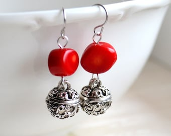 Jingle bell earrings Red earrings Red coral earrings Christmas earrings Gift for her Silver and read coral earrings Bohemian jewelry