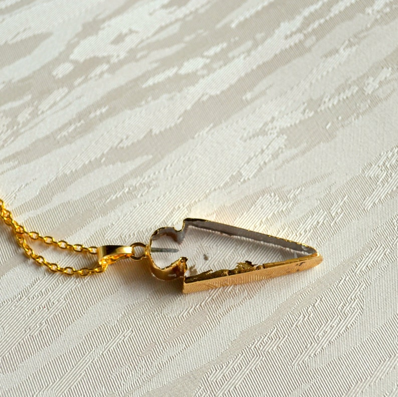 Transparent Arrowhead necklace Gift for her Long gold necklace