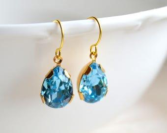 Blue earrings Blue crystal earrings Swarovski earrings Swarovski jewelry Blue Swarovski earrings Blue Drop earrings Gift for her