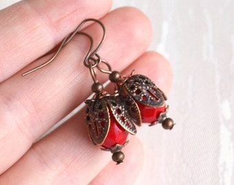 Rustic red earrings with flower petals Victorian style jewelry Beaded Jewelry Red Earrings Vintage Rustic Boho jewelry Bohemian earrings
