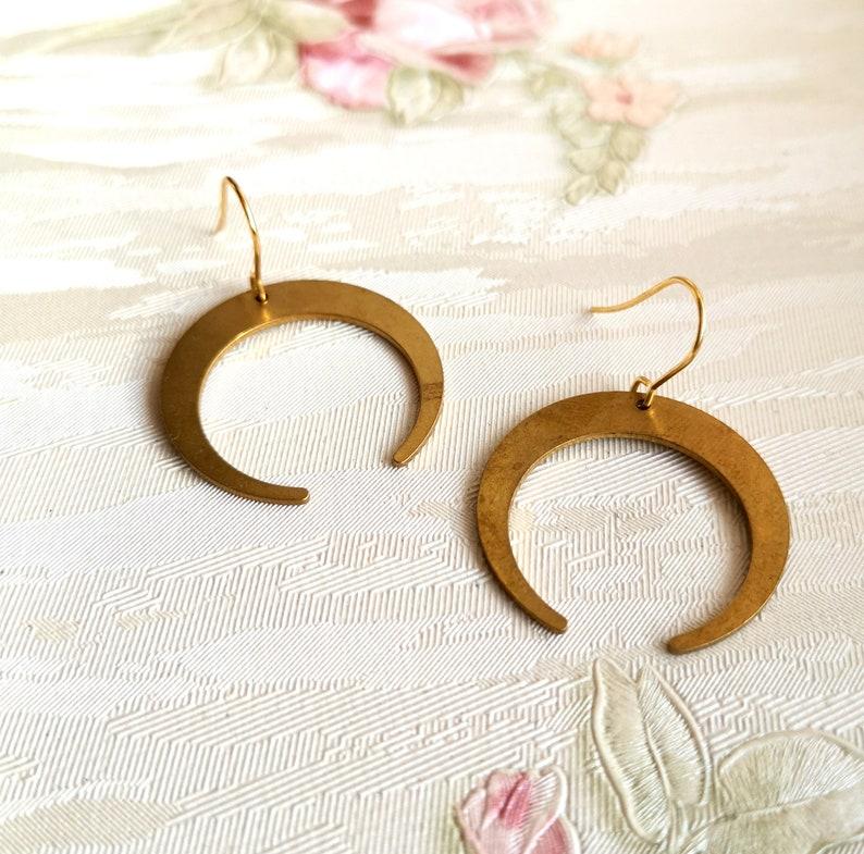 Bronze Crescent Moon earrings