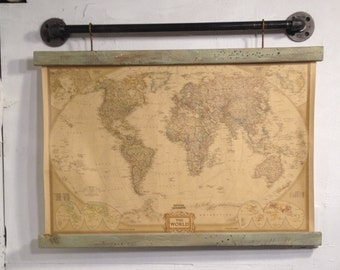 Rustic blueprint etsy industrial wall art wood signs wooden signs original painting rustic wall decor barn wood world map blueprint art black pipe decor malvernweather Choice Image
