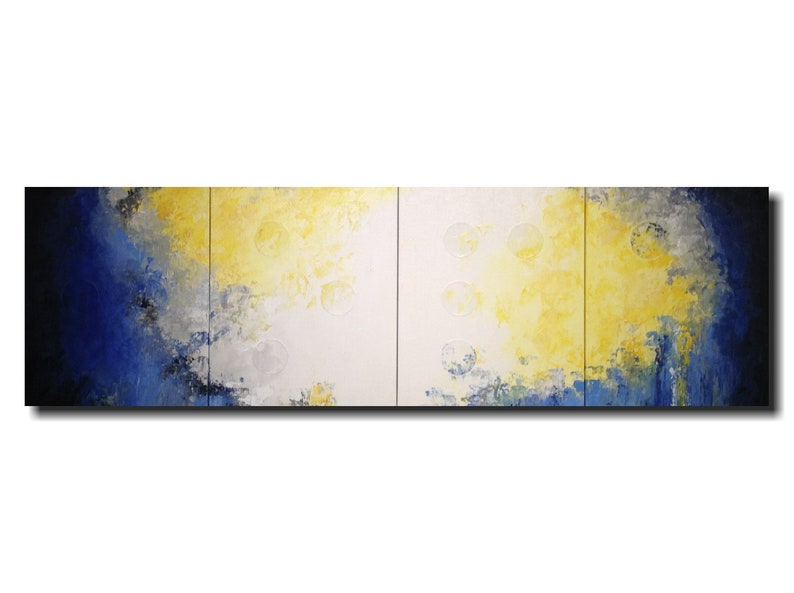 Original art Large blue abstract Painting  Braille art home image 0