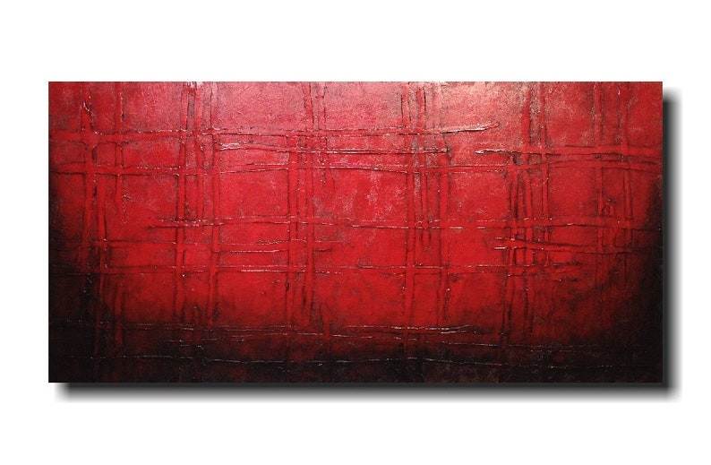 Original abstract painting Large red wall art Rustic image 0