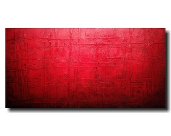 Original abstract painting  large industrial wall art large red painting jmjartstudio