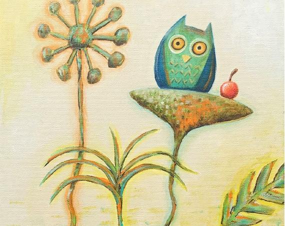 Owl and Fruit (8x10 Art Print)