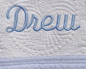 Personalized Baby Quilt -  Monogrammed / Embroidered Baby Blanket With Blue Trim