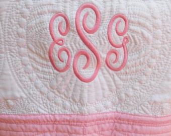 Monogrammed Baby Quilt - Pink Trim - Monogrammed / Embroidered Baby Blanket