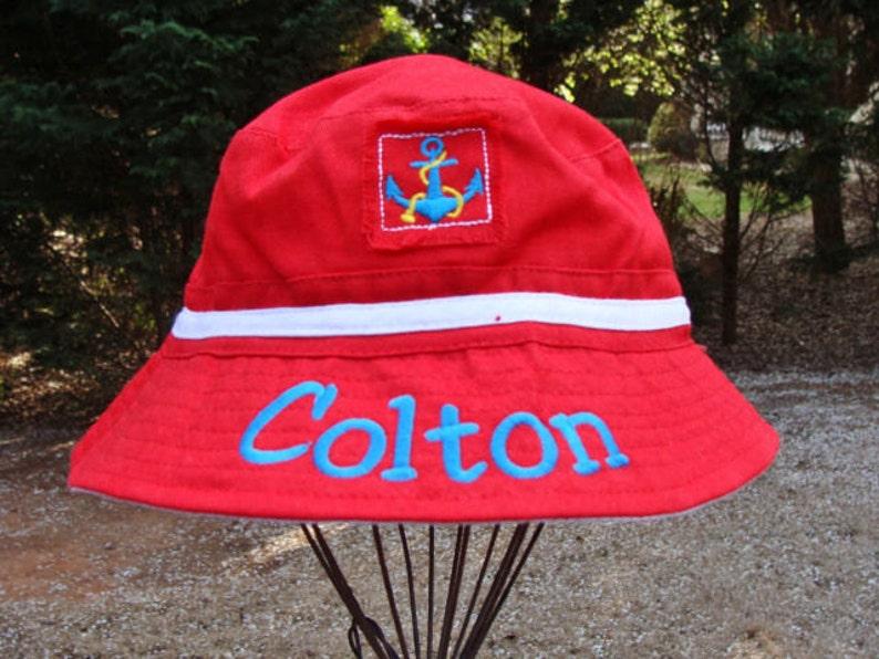 ce4b86ac61a Monogrammed Sailor Cap Nautical Infant Sun Hat