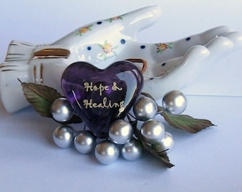 "Love Note for Wellness Purple Glass Heart of Hope and Healing Get Well Encouragement 1.5x1.5x.5"" 1.6oz"