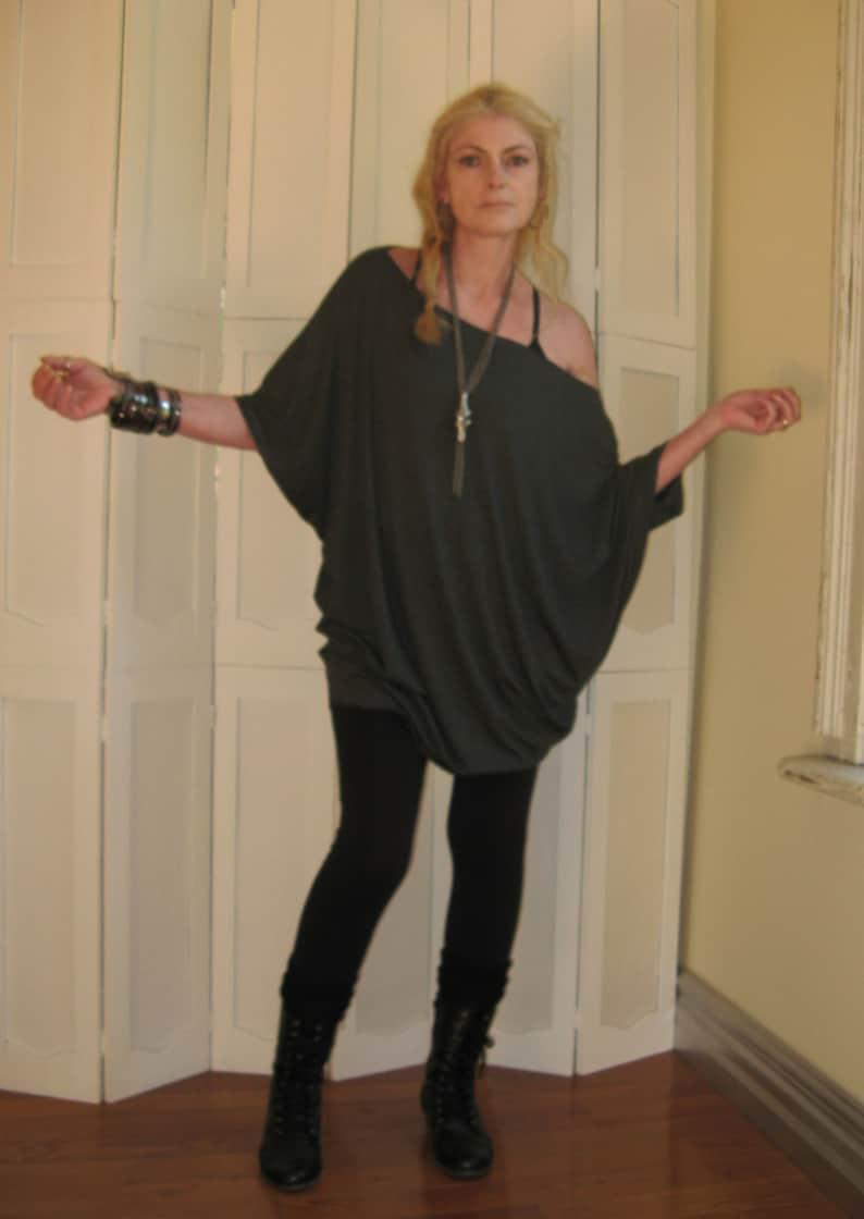 9b257aca1 Womens Plus Size Tunic Off Shoulder Top Dolman Sleeve Dress