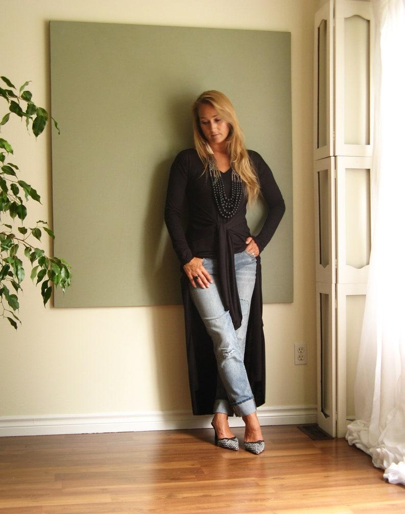 cb14344135c1 Long Sleeve TShirt Maxi Dress V Neck Drop Shoulder Long Tunic   Etsy